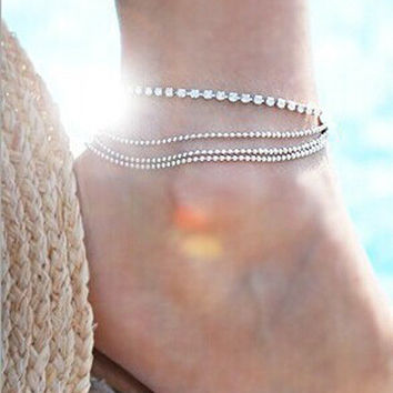 Fashion Women's multi Layers Ankle Bracelet Chain Link Foot Crystal Beads Sandal Beach Anklet Jewelry For Female