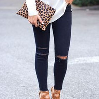 Leopard Faux Pony Zip Clutch- IN STOCK!