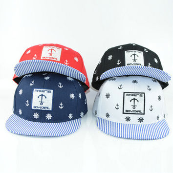 HAPPYTAIL Snapback Children Sailor Embroidery Bone Baseball Caps Kid Baby Boys and Girls 3-8 Years Flat Hip Hop Child Cap