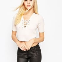ASOS | ASOS Top In Rib With Lace Up Scoop Neck at ASOS