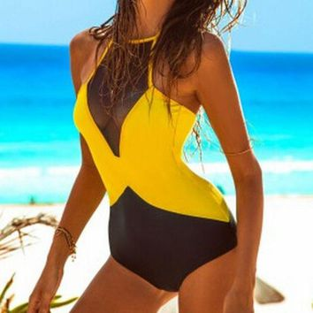 ESB3ONH FASHION BACKLESS SPLICING ONE PIECE SWIMSUIT