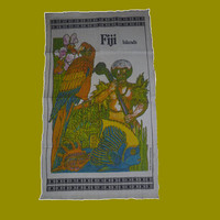 """Vintage 1970s """"Fiji Islands"""" Pure Linen Hand Made Tribal Tea Towel / Retro Parrot and Tropical Fish Kitchen Cloth"""