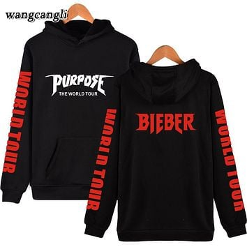 Justin Bieber Purpose Tour Print Hoodie Men Hip hop Streetwear Fleece Cotton Pullover WORLD TOUR Special Sweatshirt Women XXXL