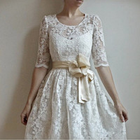 Ellie2 Piece Lace and Cotton Wedding Dress by Leanimal on Etsy