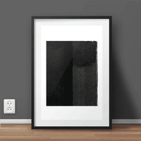 Hand Painted Watercolor Abstract Art | Black and White Print | Large Prints 50 x 70 cm