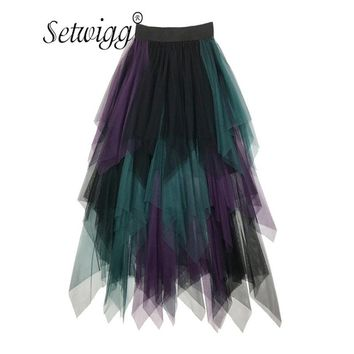 SETWIGG Spring New Multi-color Patchwork Mesh Irregular Midi Skirts Color Block Gauze Asymmetric Hem Tiered Medium Long Skirts