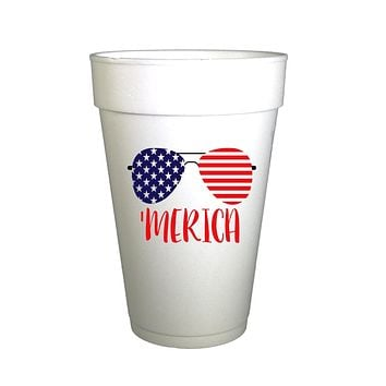 American Glasses 4th of July Holiday Styrofoam Cups