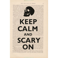 Halloween decorations dictionary art - KEEP CALM and SCARY On - dictionary print