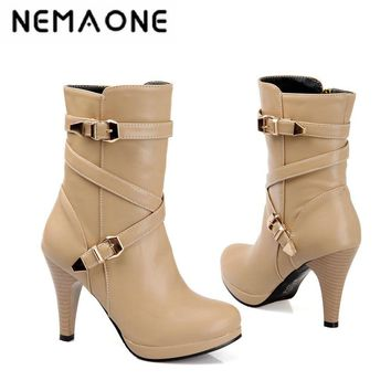 large size:34-43  fashion sexy knight female ladies high heels platform  ankle boots for women and woman autumn winter shoes
