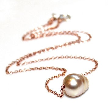 South Sea Pearl Necklace Baroque Pearl Choker Rose Gold Vermeil Necklace Single Pearl Jewelry Floating Pearl Necklace Everyday Necklace