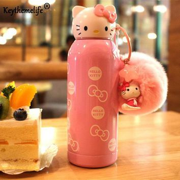 Keythemelife Water Bottles Hello Kitty kettle Mini Stainless Steel Children Insulation kettle Kids Drinkware Gift DF
