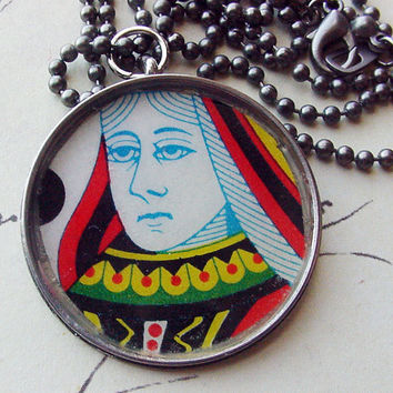 Playing Card Queen Necklace Gambling jewelry casual jewelry repurposed jewelry