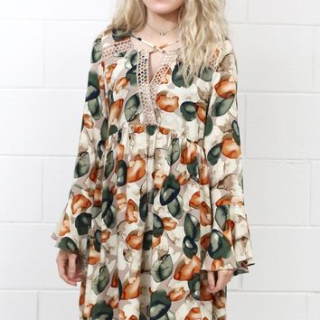 Fields of Fall Printed Dress w/ Bell Sleeves {Taupe Mix}