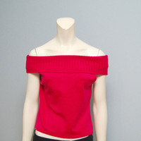 Vintage 1990's Hot Pink Giorgio Fiorlini Collection Off the Shoulder Tank Top - XS
