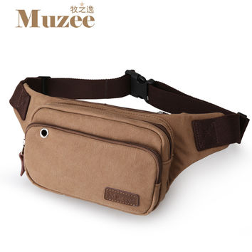 Muzee Men Male Multifunctional Fashion Waist Bag Casual Brand BeltBag Waist Packs Suit for Three Colors Waist Bags For Men