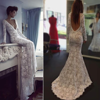 Hot Berta Wedding Dresses Sexy Lace Deep V Neck Long Sleeves Mermaid Backless