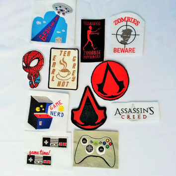 Video game, TV, Zombie patches - iron on, sew on, velcro, magnet, pin patches.
