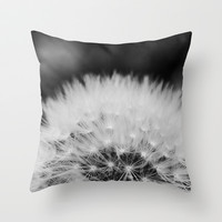 black and white dandelion Throw Pillow by Erin Johnson