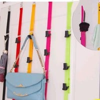 Multi-purpose door behind hat bag clothes rack organizer Storage holder adjustable hook tape for Home Decoration