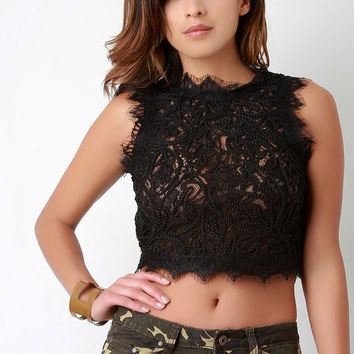 Embroidered Rope and Lace Crop Top