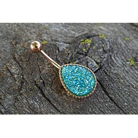 Teardrop Teal Druzy Rose Gold Belly Button Ring