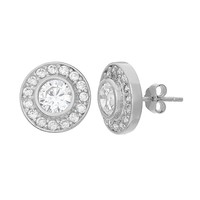 Cubic Zirconia Sterling Silver Halo Button Stud Earrings (White)