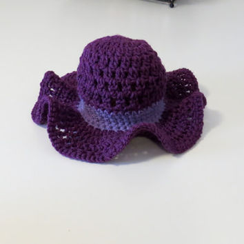 Crochet summertime purple sunhat, baby sunhat, baby summer hat, girl sunhat, girl summer hat, floppy brim sunhat, purple sunhat with brim