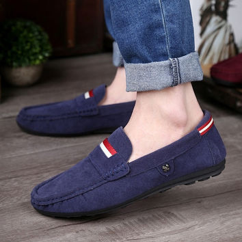 2015 New Color Genuine Leather Men Flat Shoes Men Loafers Peas Shoes Moccasins Fashion Casual Shoes = 1715228228