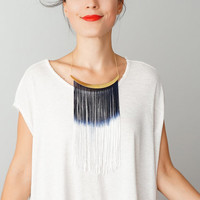 Cheora // Tassel Necklace/ Fringe Necklace/ Arc Necklace/ Ivory Navy Blue Necklace/ Statement Necklace/ Gold Necklace