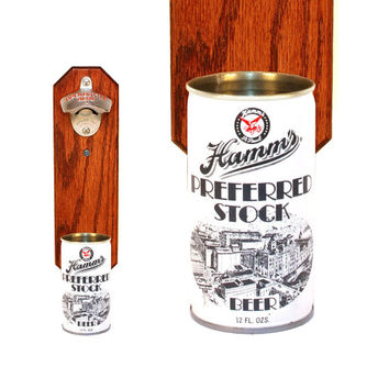 Wall Mounted Bottle Opener with Vintage Hamm's Beer Can Cap Catcher - Gift for Dad Grad Groomsmen