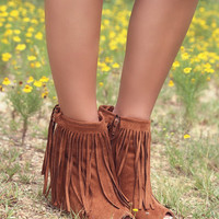 Desert Fringe Rust Zip Up Peep Toe Wedge Ankle Boot With Fringe