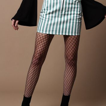 Motel Broom Highwaist Denim Mini Skirt - Teal Stripe