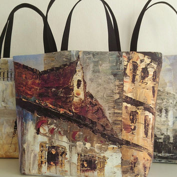 Beach tote; printed tote bags painting Montmartre in Paris, trendy canvas tote bags
