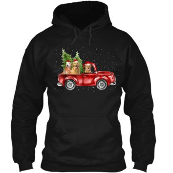 Golden Retriever Driving Red Truck Christmas  Pullover Hoodie 8 oz