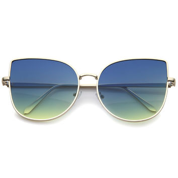 Oversize Gradient Color Flat Lens Cat Eye Sunglasses A853
