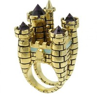 Antique Gold Plated Drawbridge Castle Cocktail Ring From Disney Couture : TruffleShuffle.com