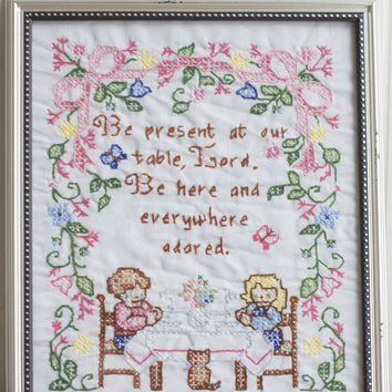 Vintage Hand Embroidered Prayer Sampler - Kitsch Kitchen Decor