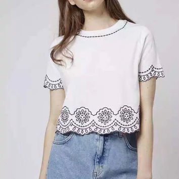 Top Shop Vintage Embroidery Short Sleeve Tops T-shirts [8069638727]