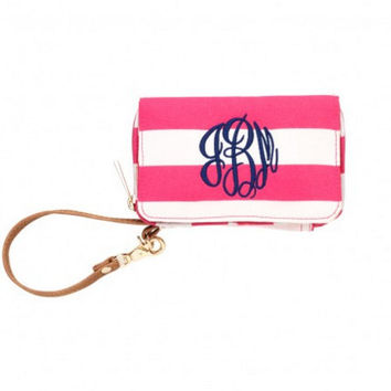Personalized Monogram ID Wristlet Wallet Monogram Cell Phone Holder Embroidered Wallet Embroidered Phone Holder Monogram Sorority Gift