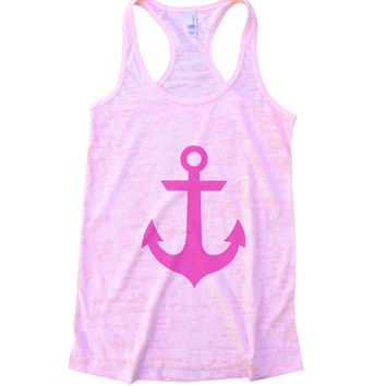 Anchor Burnout Workout Tank Top - Funny Hot Selling Womens Running Gym Shirt - Ocean & Lake Nautical Tank Fitness Working Out 644