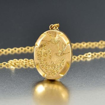 Edwardian Engraved Swallow Rose Gold Locket Necklace