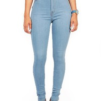 Vibrant Women's Juniors Vintage High Waist Denim Skinny Jeans 3 Light Blue
