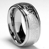 7MM Stainless Steel Ring With Engraved Florentine Design Size 9