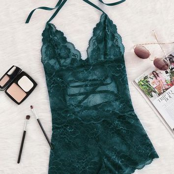 Tie Up Back Halter Neck Lace Sleep Romper GREEN