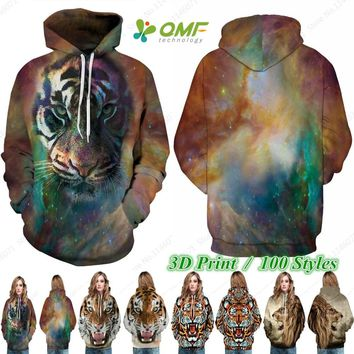 Wild Tiger Sweatshirts Outwear Sweater Space Galaxy Leopard Skateboard Hoodies Animal Print Harajuku Tracksuits Moletom Feminino