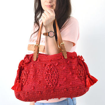 CLEARANCE SALE Gerard Darel Woodstock Raffia 24 hours Inspired Crochet Bag, Summer Purse, Straw Handbag, Raffia Straw Bag