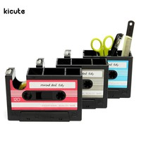 Retro Cassette Adhesive Tape Holder Pen Holder Vase Pencil Pot Stationery Desk Tidy Container Office Stationery Supplier Gift
