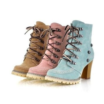 Women's High Heel Lace-Up Winter Boots