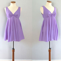 60s purple babydoll - vintage lavender fit and flare satin appliqué flower sheer nylon mod pinup lingerie short mini ribbon bow full skirt