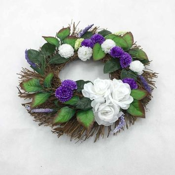 White Rose Wreath 30cm Garland Window Door Decorations Christmas Ornament Xmas Tree Hanging Holiday Decor Girls Wreaths Props